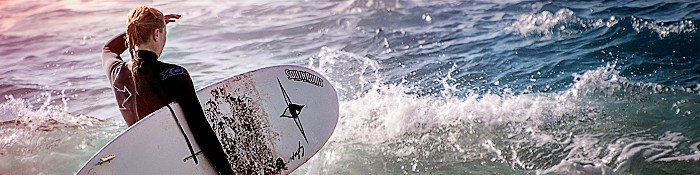 Eiswuerfelimschuh Surf California Kalifornien Beach Surfing Header