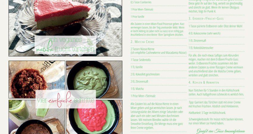 Frühlingsleckerei: Rohes, veganes Matcha Erdbeertörtchen (Rezept)