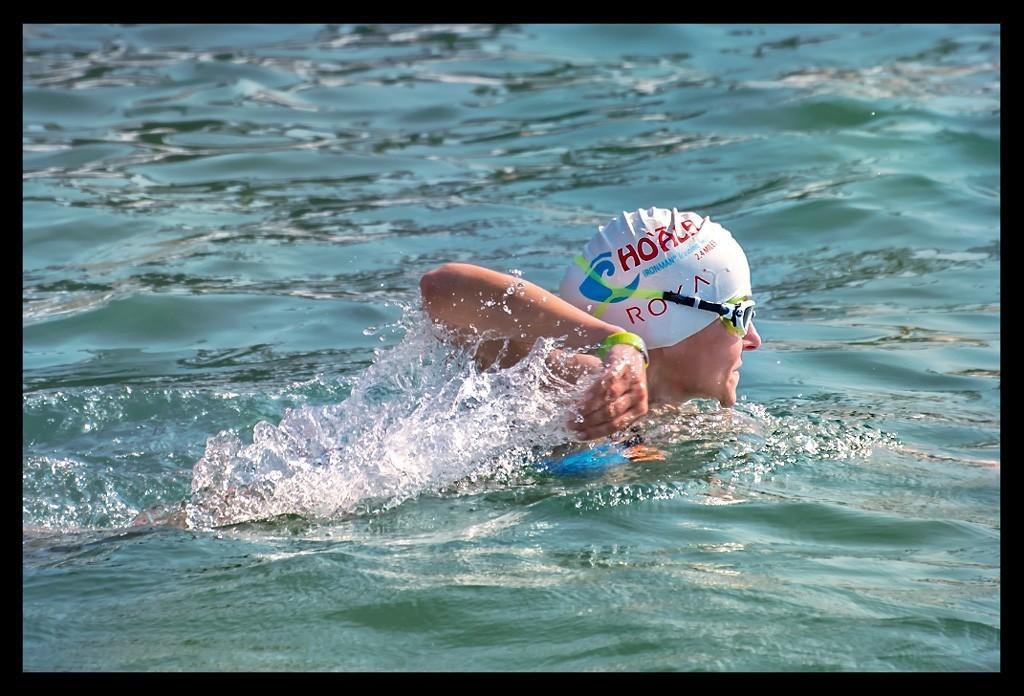 Female Triathlet in the Ocean during swim training