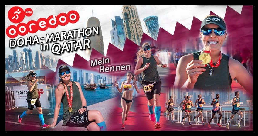 Doha Marathon Skyline Läufer Runner Collage
