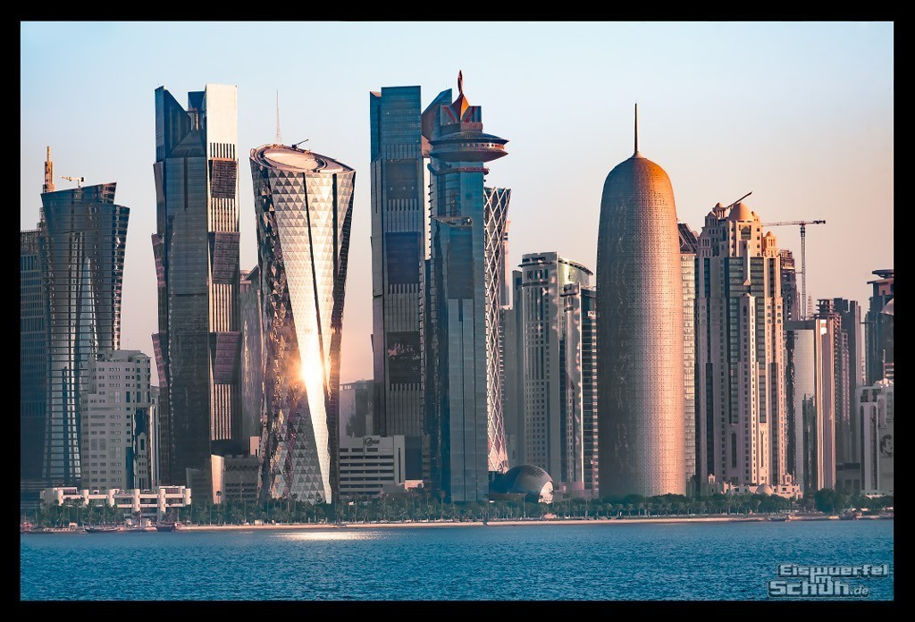 Doha Marathon Skyline Sea