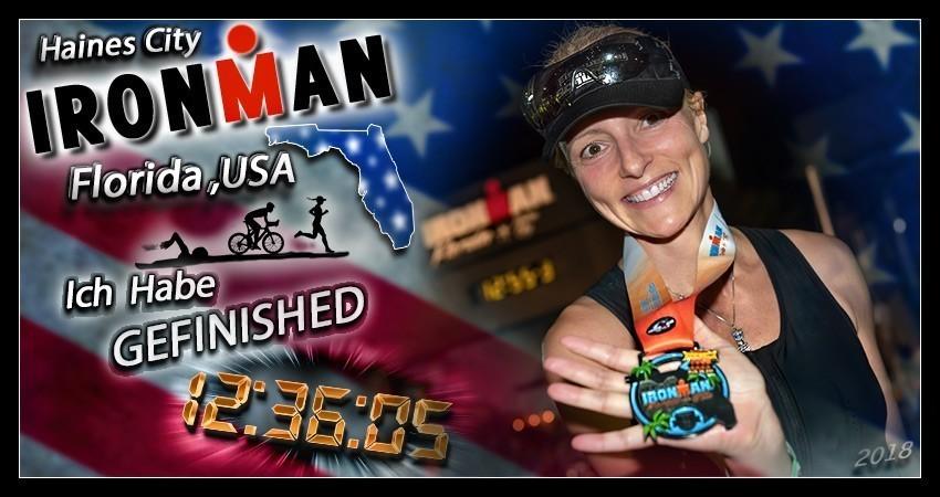 Ironman Florida Langdistanz Finisher Medaille EiswuerfelImSchuh Banner
