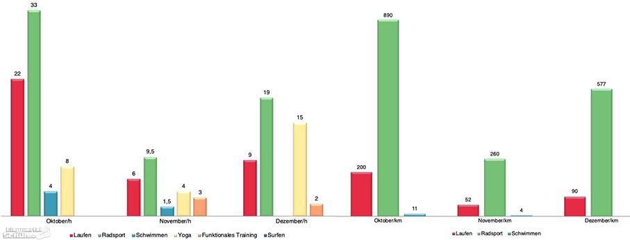 Yoga und Triathlon Training Zusammenfassung Statistik