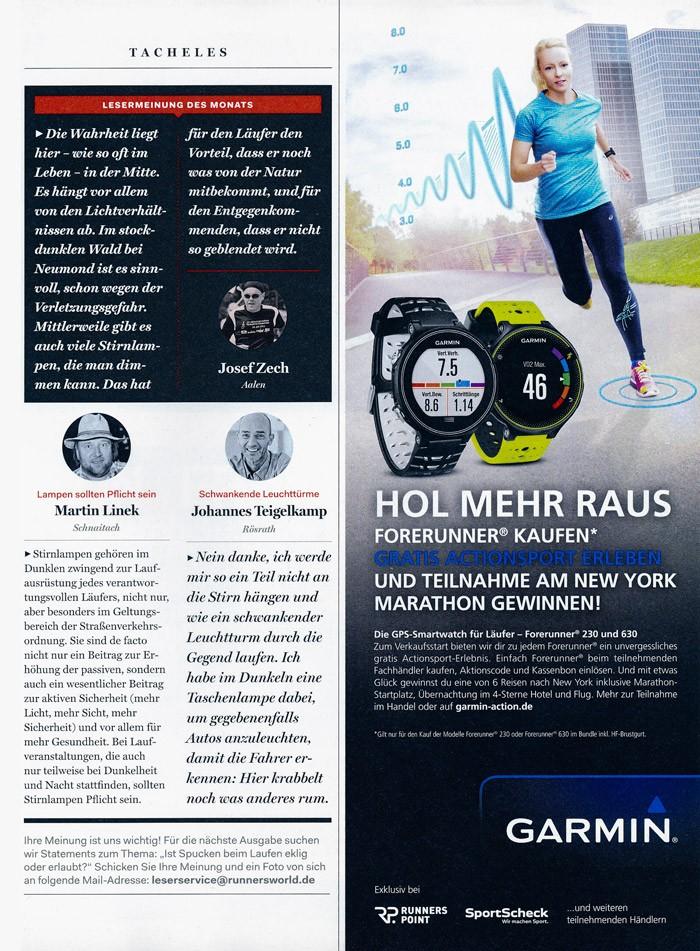 RunnersWorld Garmin Werbekampagne, Januar 2016