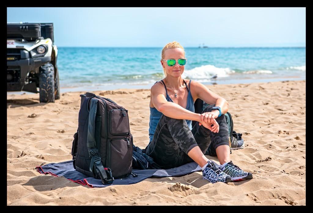 Triathletin am Strand von Chicago