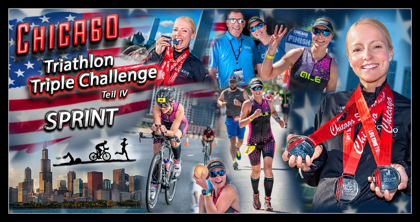 Chicago Triathlon Triple Challenge Banner Collage