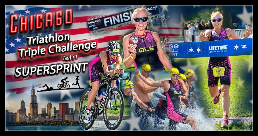 Chicago Triathlon Super Sprint Foster Beach Banner Collage