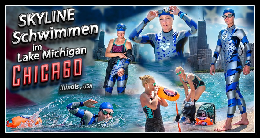 Triathlon Schwimmtraining in Chicago Reiseblog Banner Collage