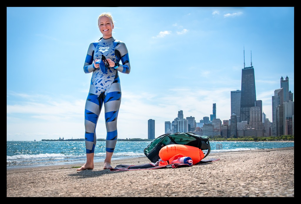 Female Triathlete in front of Chicago Skyline at the Concrete Beach