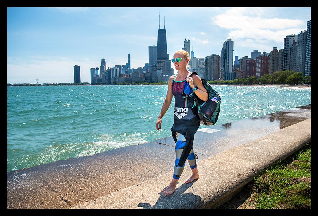Chicago Skyline Triathletin on the Concrete Beach