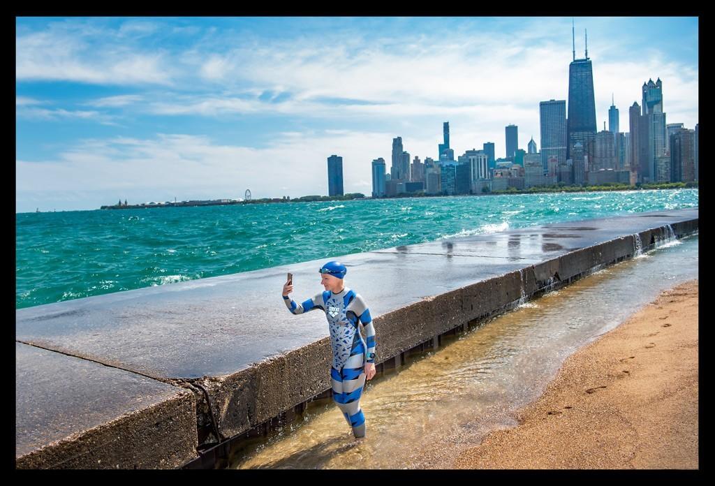 Chicago North Avenue Beach Waves Triathlete