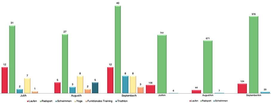 Triathlon Training Monatszusammenfassung Statistiken