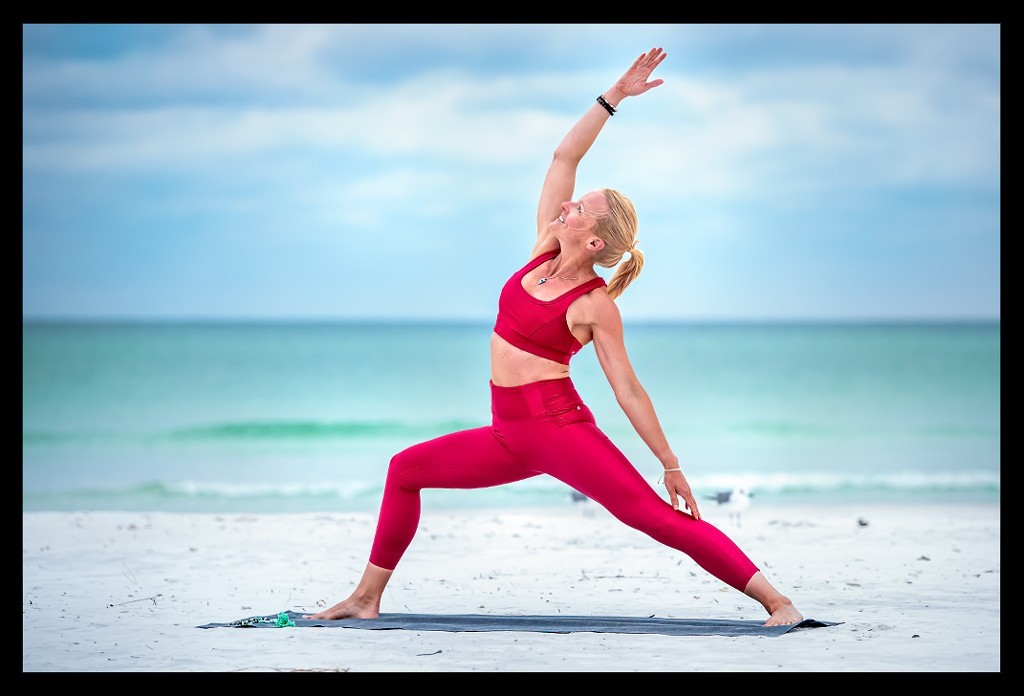 Shanti Virabhadrasana Yoga on the Beach