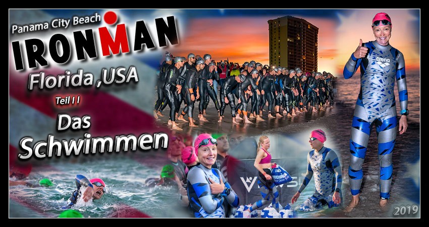 Ironman Florida Panama City Beach Swim course banner collage