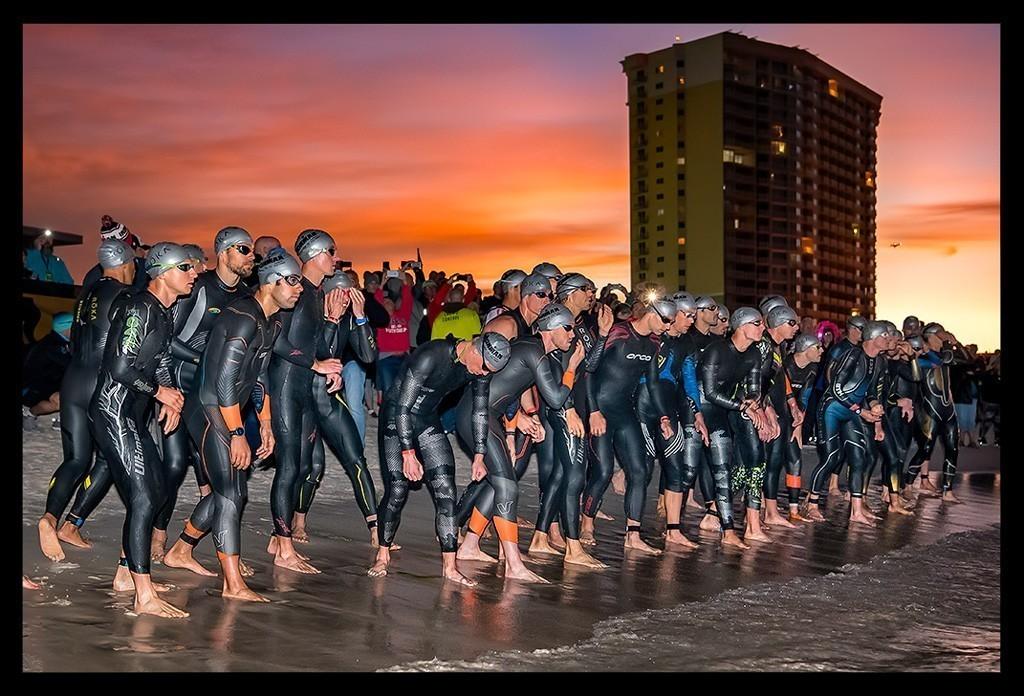 Ironman Florida Professional Triathletes Starting Line Panama City Beach Sunrise