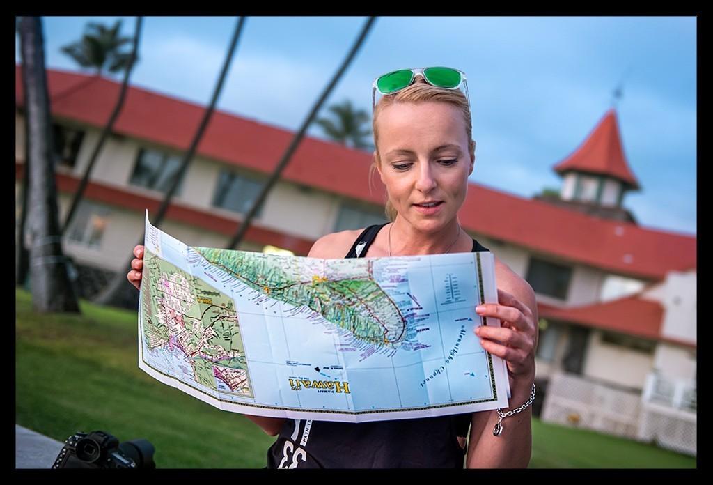 Triathletin in Kona Hawaii Big Island Stadtplan Reiseblog