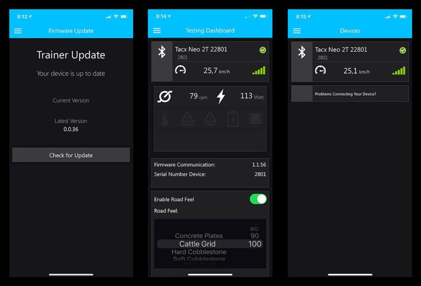 Tacx Utility App Screenshots