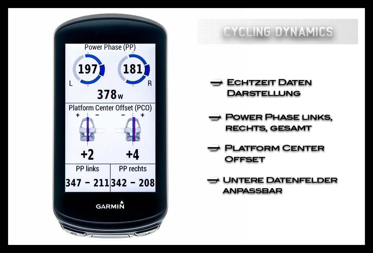 Garmin Edge 1030 Plus Display Seite Wattmesssystem Rally Cycling Dynamics