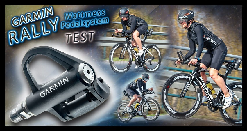 Garmin Rally Wattmess Pedalsystem Collage mit Radsportlerin