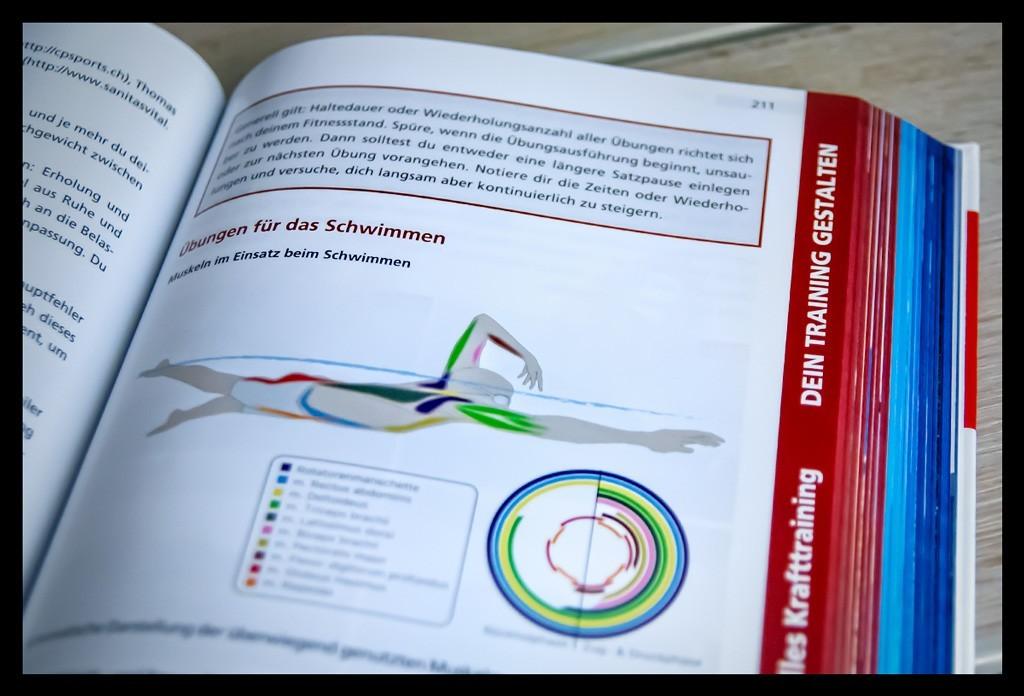 Dein Weg zur neuen Bestzeitvon Roy Hinnen Buchempfehlung Textabbildung und Schwimmgrafik. Das Buch liegt auf einem Holztisch und eine Seite ist aufgeschlagen.