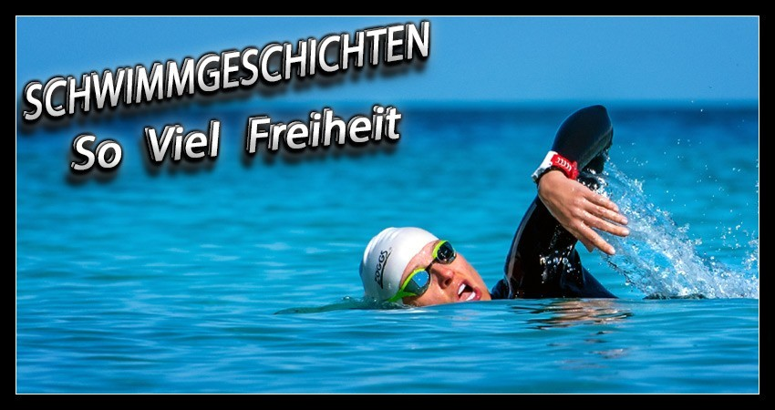 Schwimmtraining Freiwasser Triathlon Banner mit Text und Triathletin im offenen Gewässer mit Neoprenanzug, Schwimmbrille, Badekappe und GPS Sportuhr