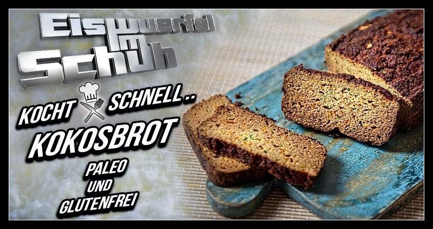 Kokosbrot Paleo und glutenfrei ohne Mehl Banner für Rezept Artikel