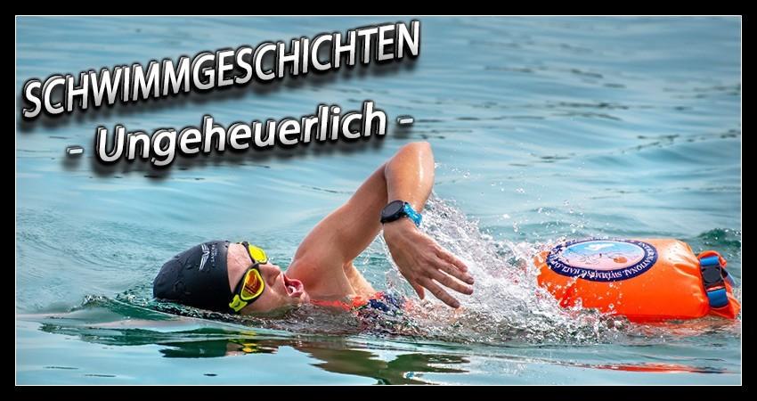 Freiwassertraining Triathlon Schwimmen open water tipps Banner mit Triathletin im See mit Schwimmboje Badekappe und Schwimmbrille